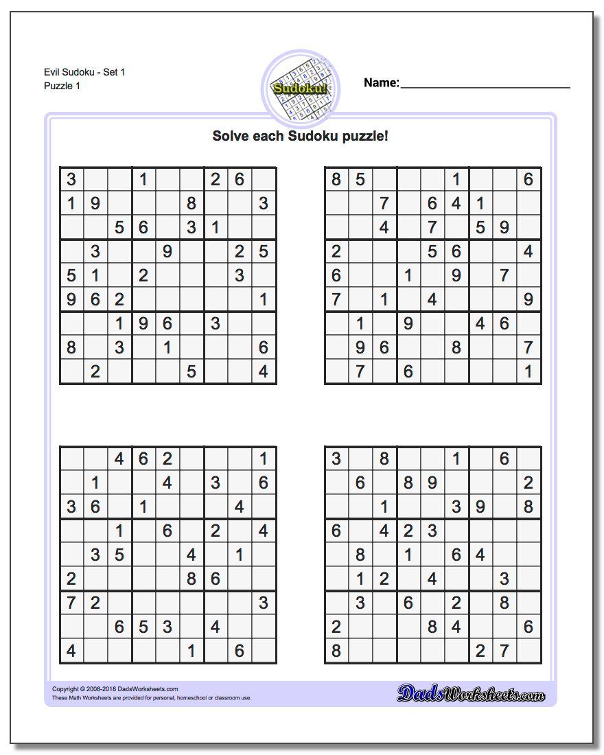 Printable Sudoku Sheets | Room Surf