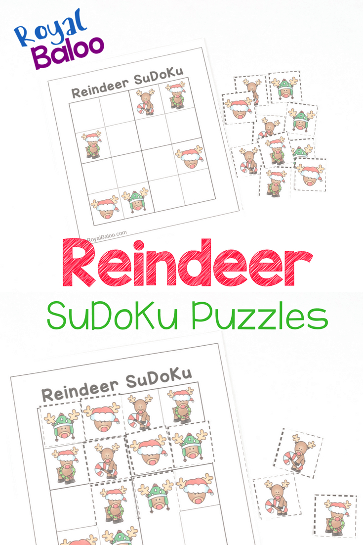 Reindeer Sudoku Puzzles - Christmas Logic Fun - Royal Baloo