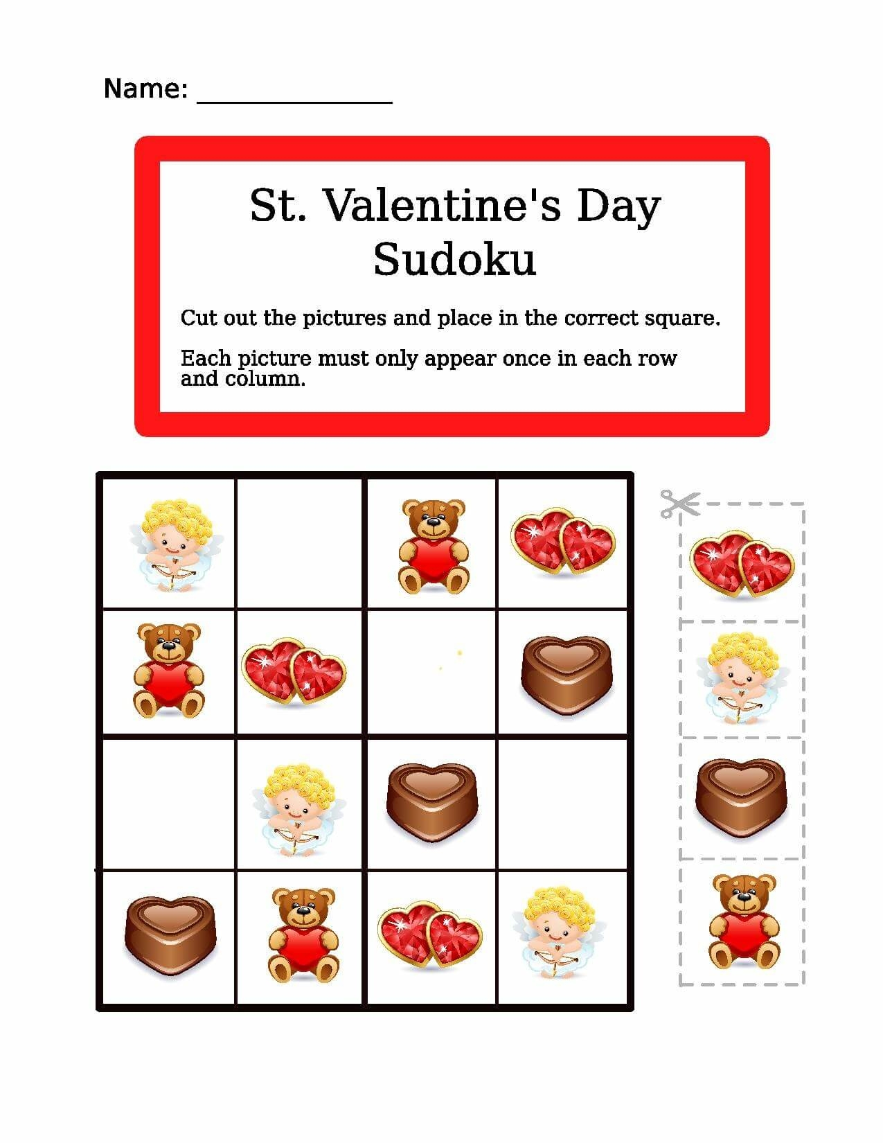 Saint Valentine Picture Sudoku | Free Printable Puzzle Games