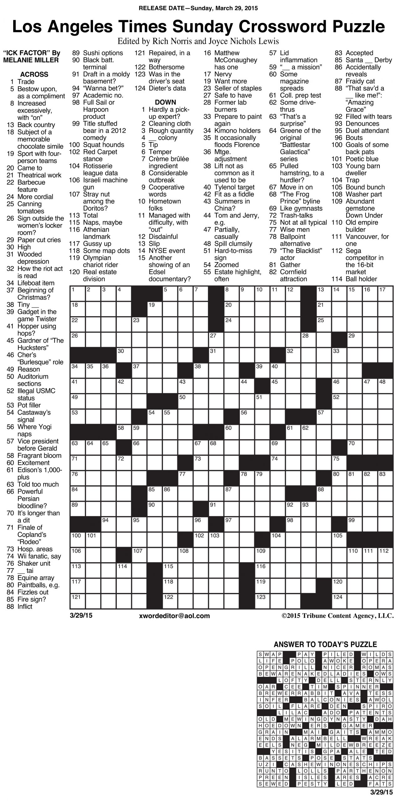 Sample Of Los Angeles Times Sunday Crossword Puzzle