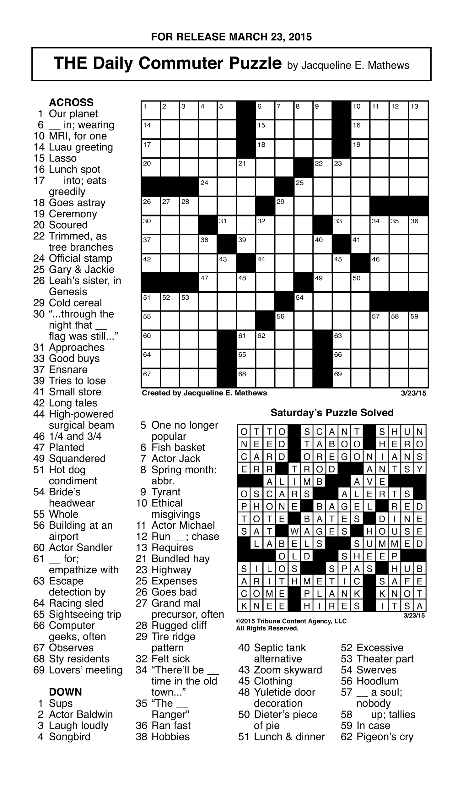 Sample Of The Daily Commuter Puzzle | Tribune Content Agency