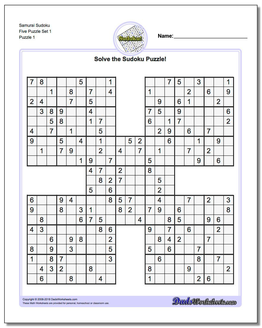Samurai Sudoku Five Puzzle Set 1 #sudoku #worksheet   Sudoku