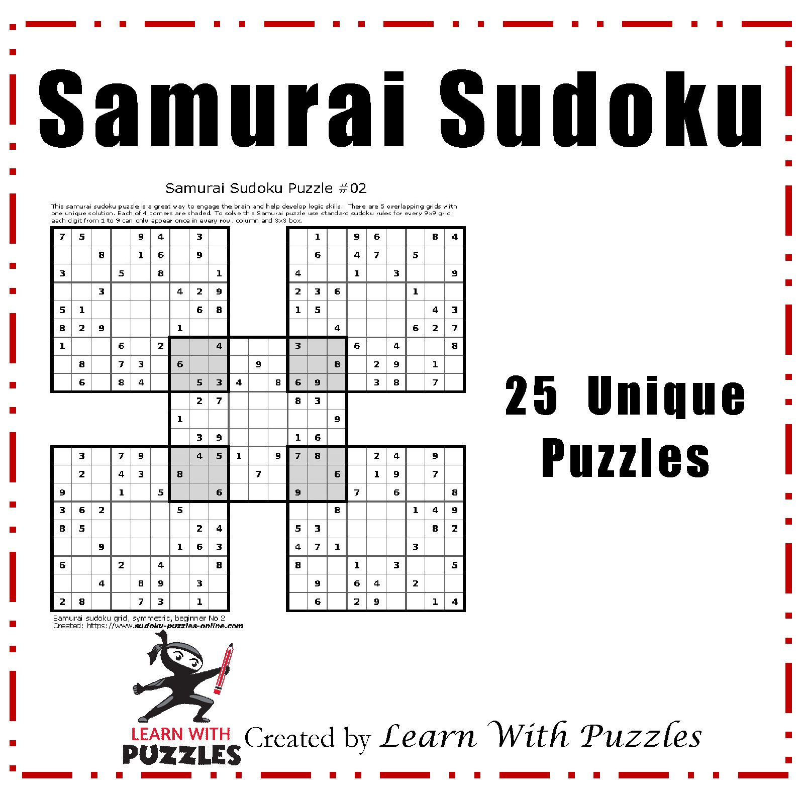 Samurai Sudoku Puzzles - 25 Unique Sudoku Puzzle Collection