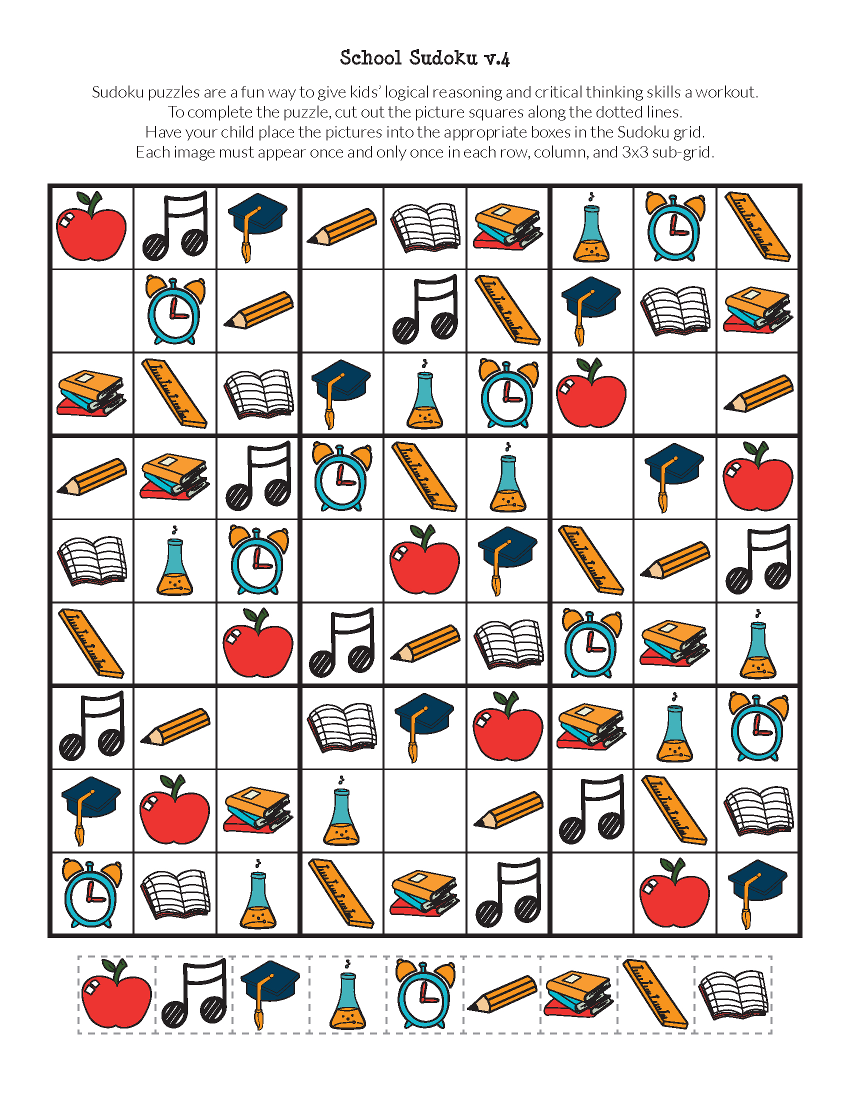 School Sudoku Puzzles {Free Printables} - Gift Of Curiosity