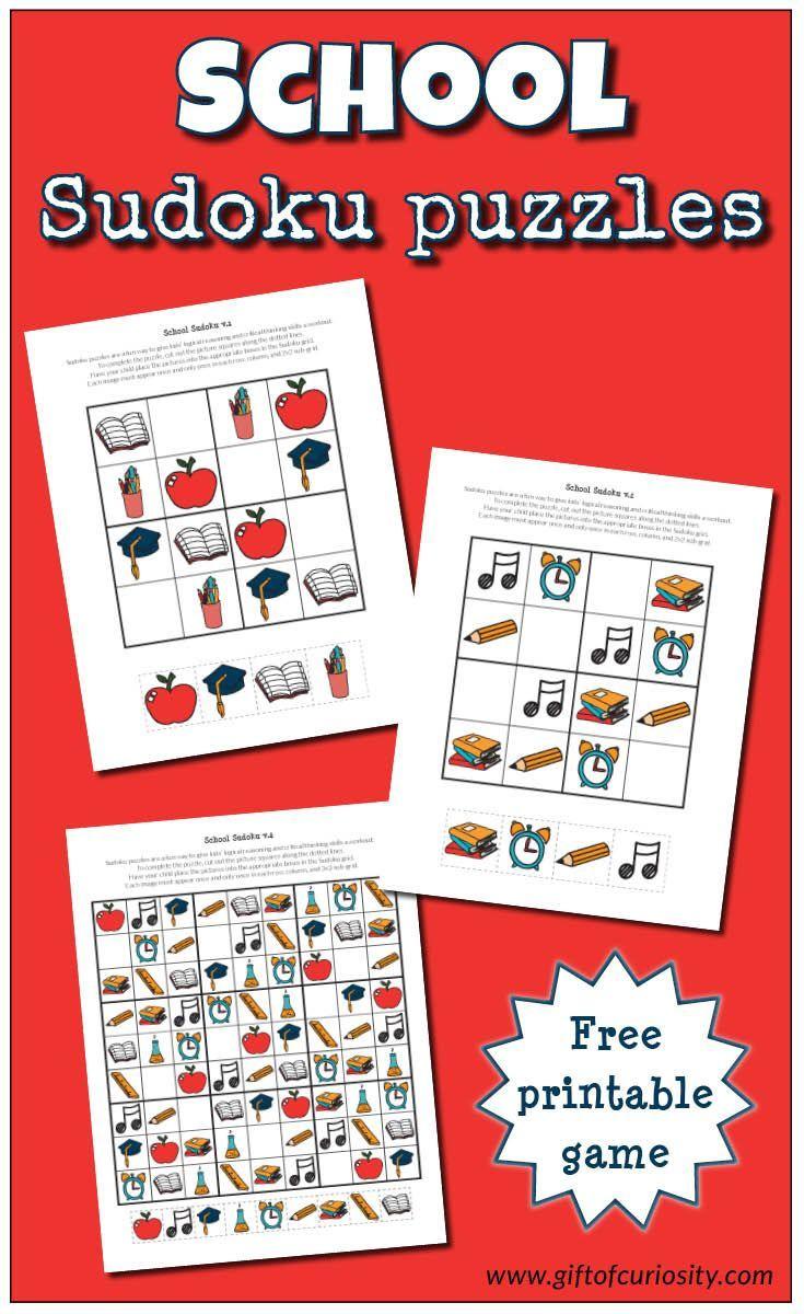 School Sudoku Puzzles {Free Printables} - Wiskunde, Kinderen