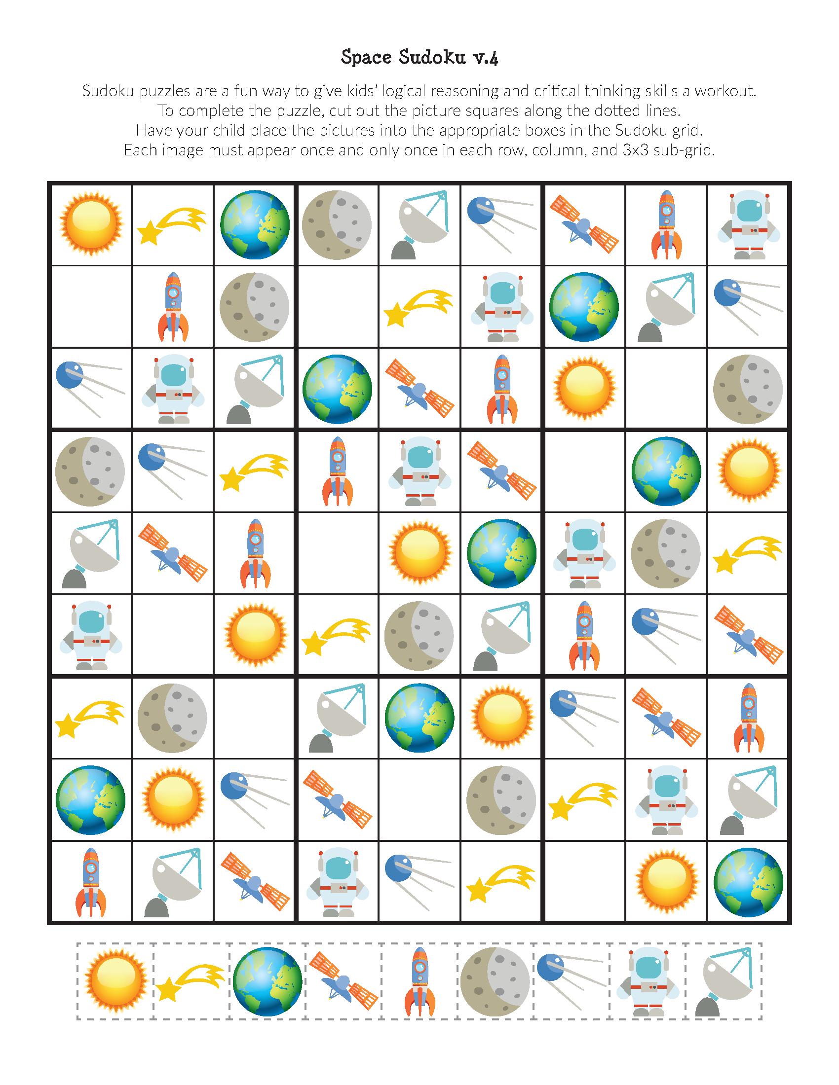Space Sudoku Puzzles {Free Printables} - Ruimte Thema