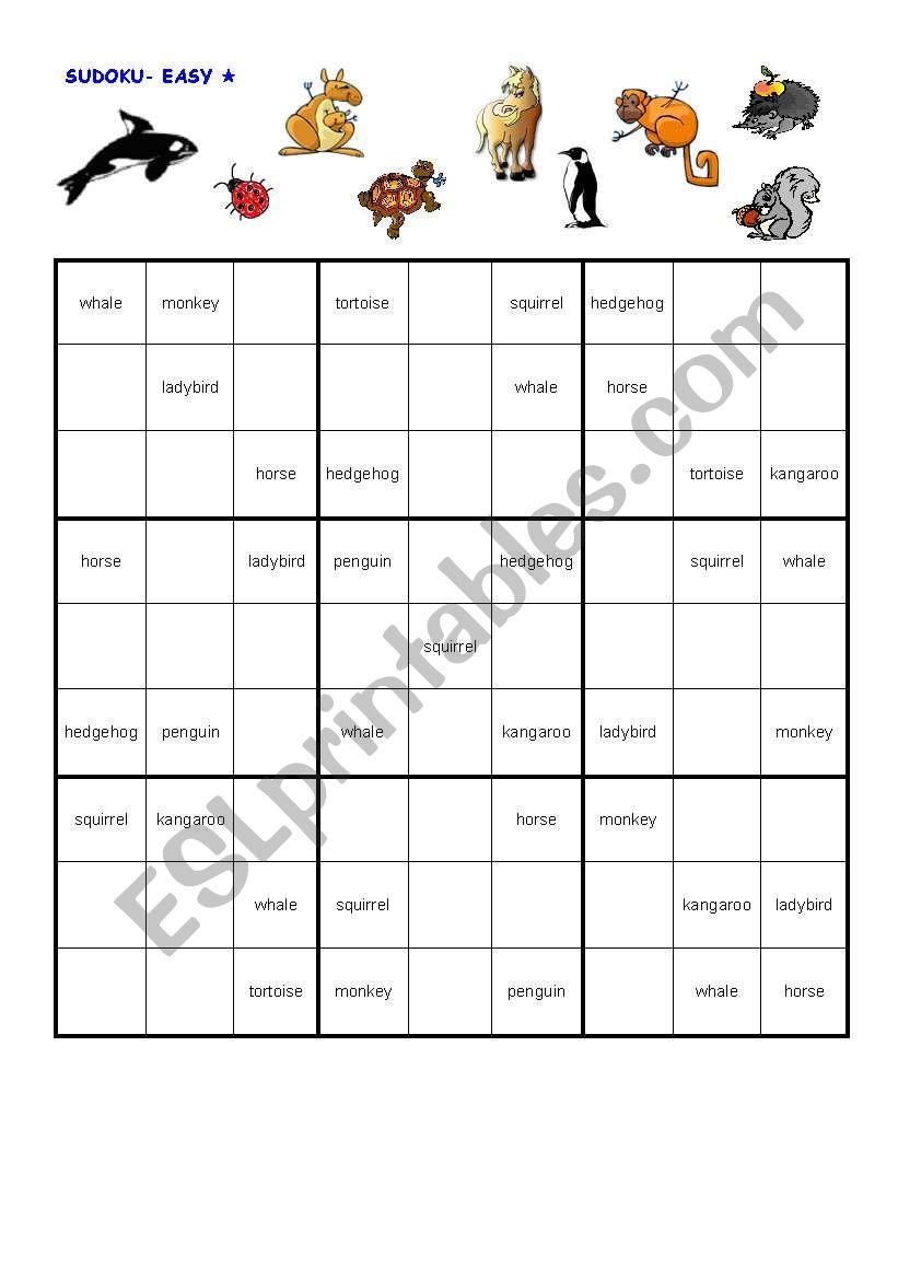 Sudoku Animals Easy - Esl Worksheetjannemaus