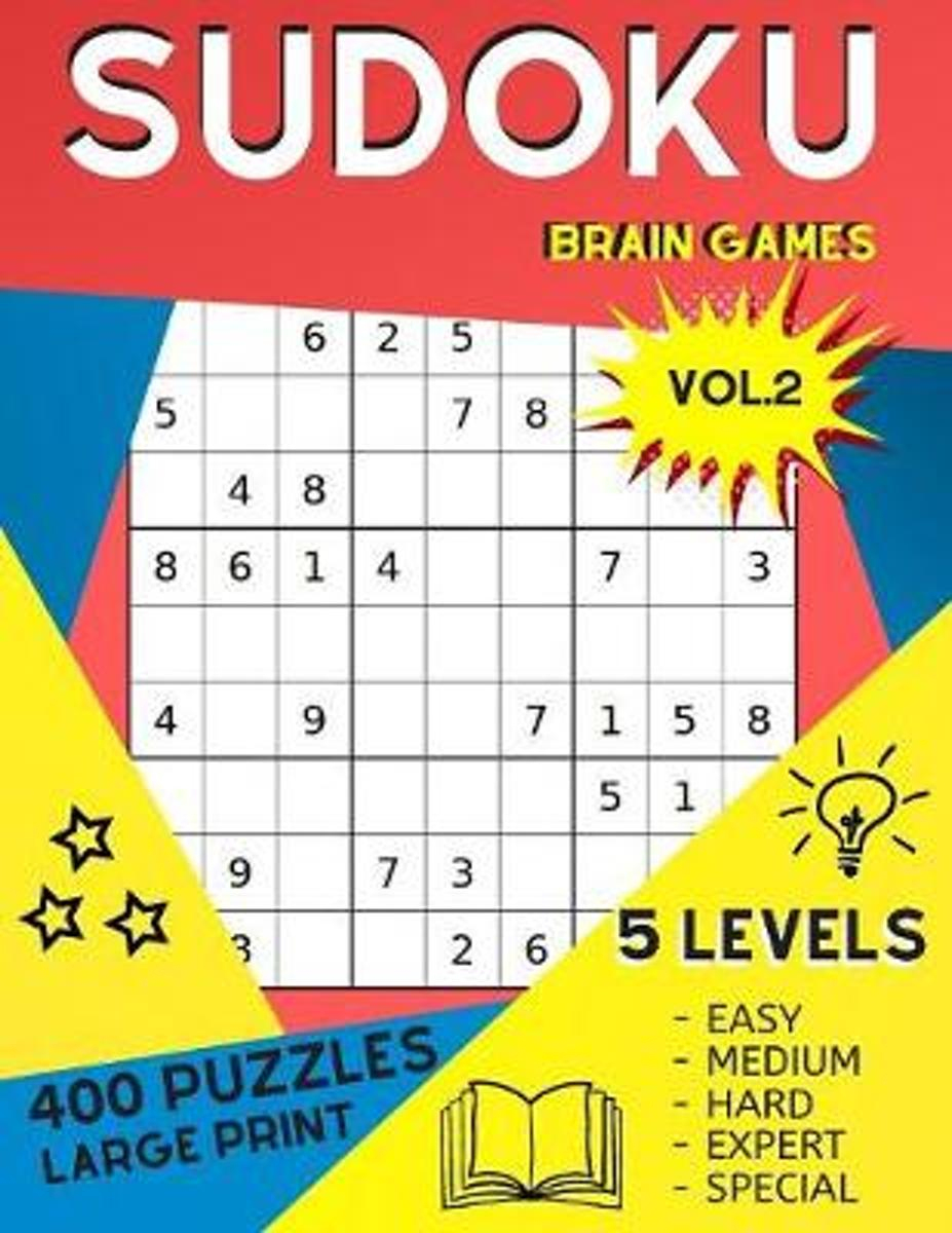 Sudoku Brain Games Vol.2 400 Puzzles Large Print - 5 Levels Easy Medium  Hard Expert Special