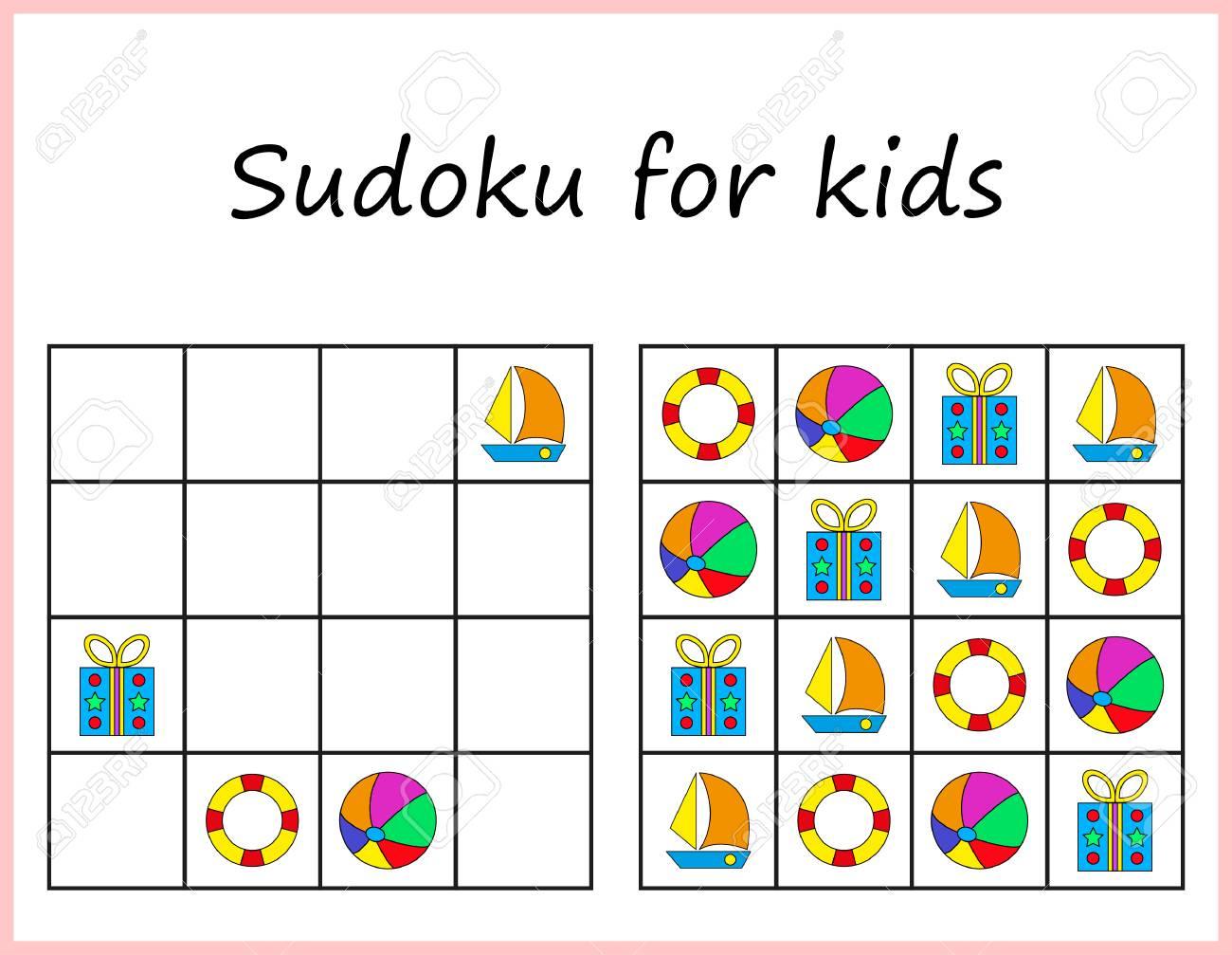 Sudoku For Kids. Game For Preschool Kids, Training Logic. Worksheet..