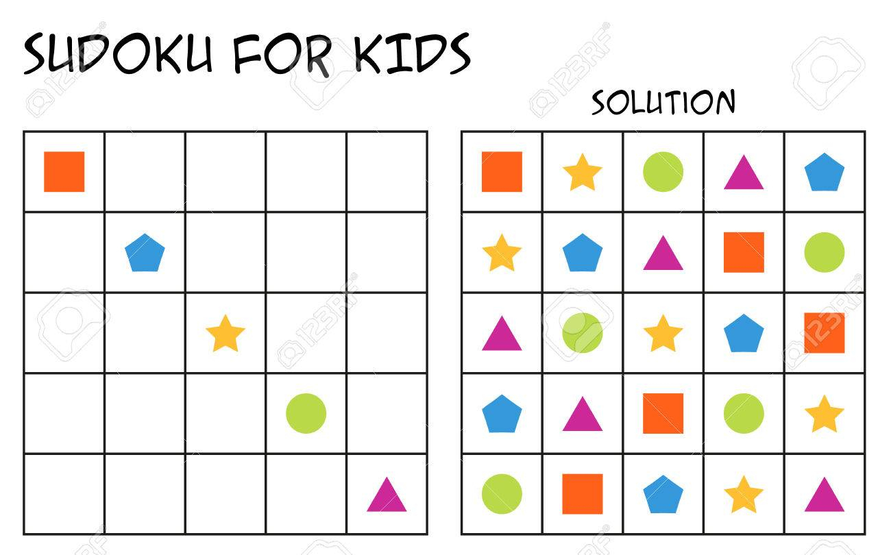 Sudoku For Kids With Solution, Puzzle For Children To Complete..