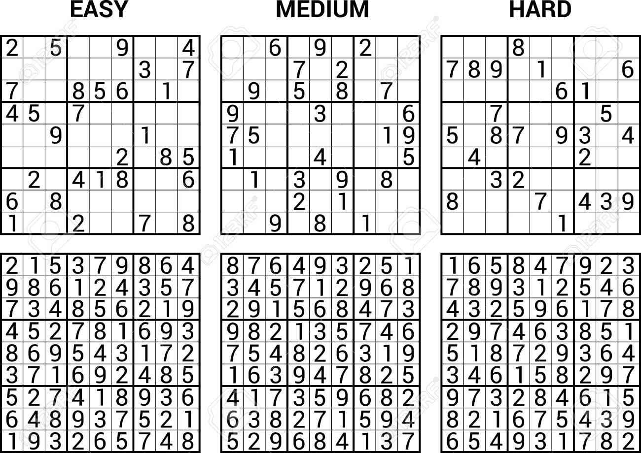 Sudoku Puzzle Game With Answers Vector Illustration