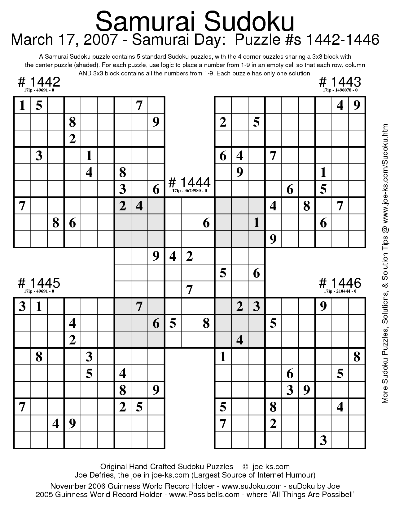 Sudoku Puzzles | Document Sample | Sudoku Puzzles
