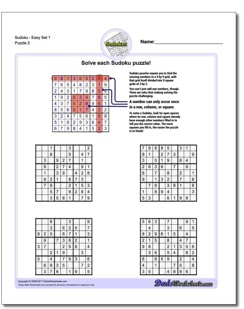 Sudokueasy Set 1 Worksheet #sudoku #worksheet | Sudoku, Free