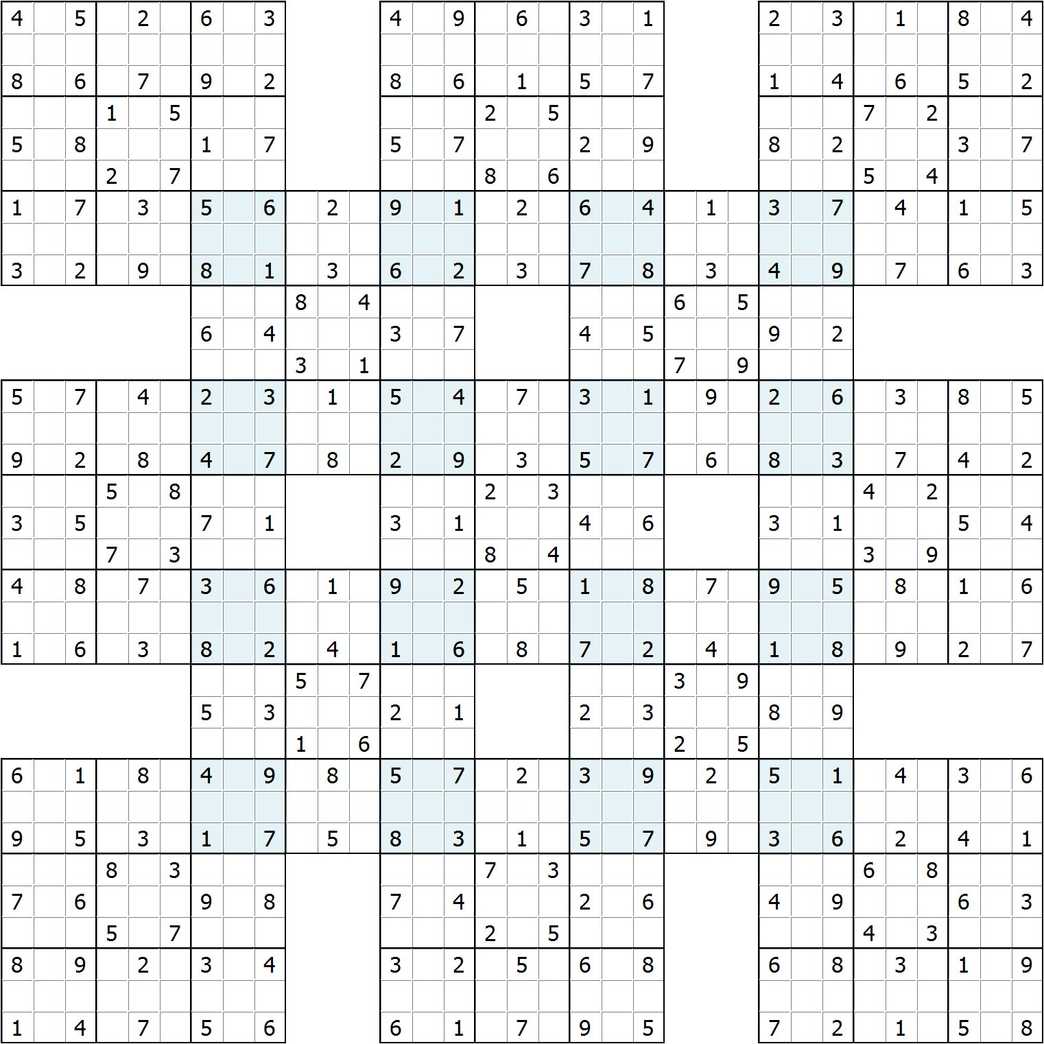"Supersamurai"" Gattai-13 : Sudoku Variants"