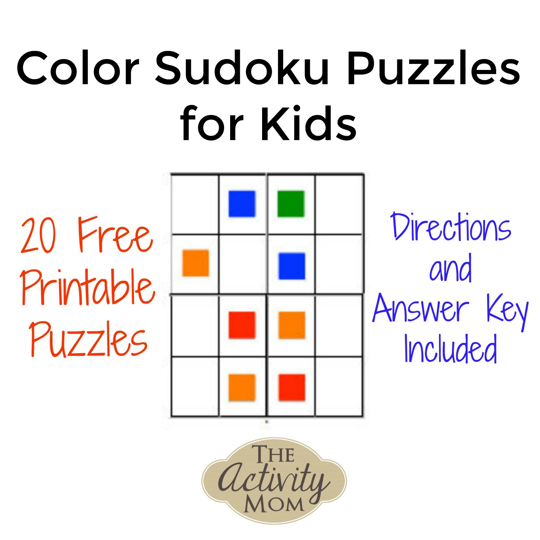 The Activity Mom - Free Printable Color Sudoku Puzzles For