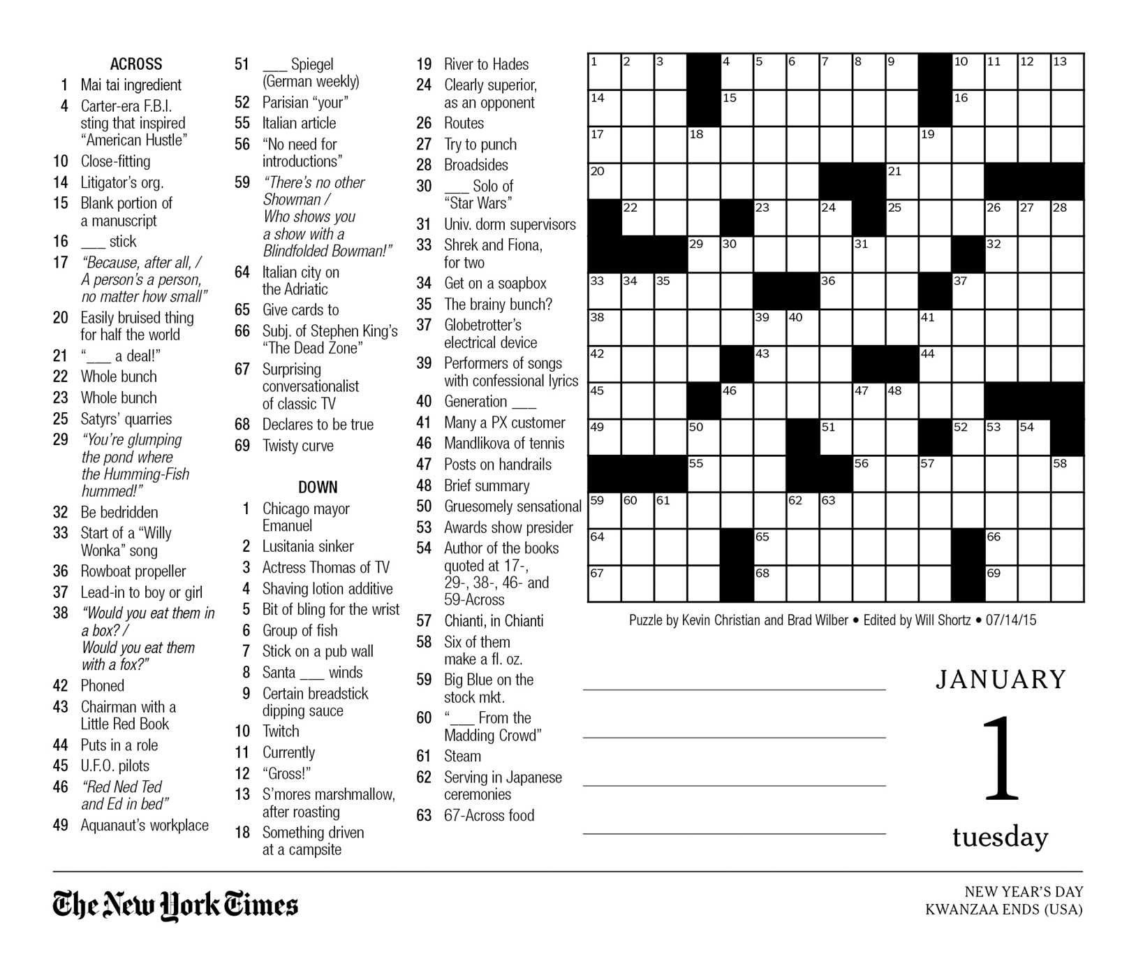 The New York Times Crossword Puzzles 2019 Day-To-Day