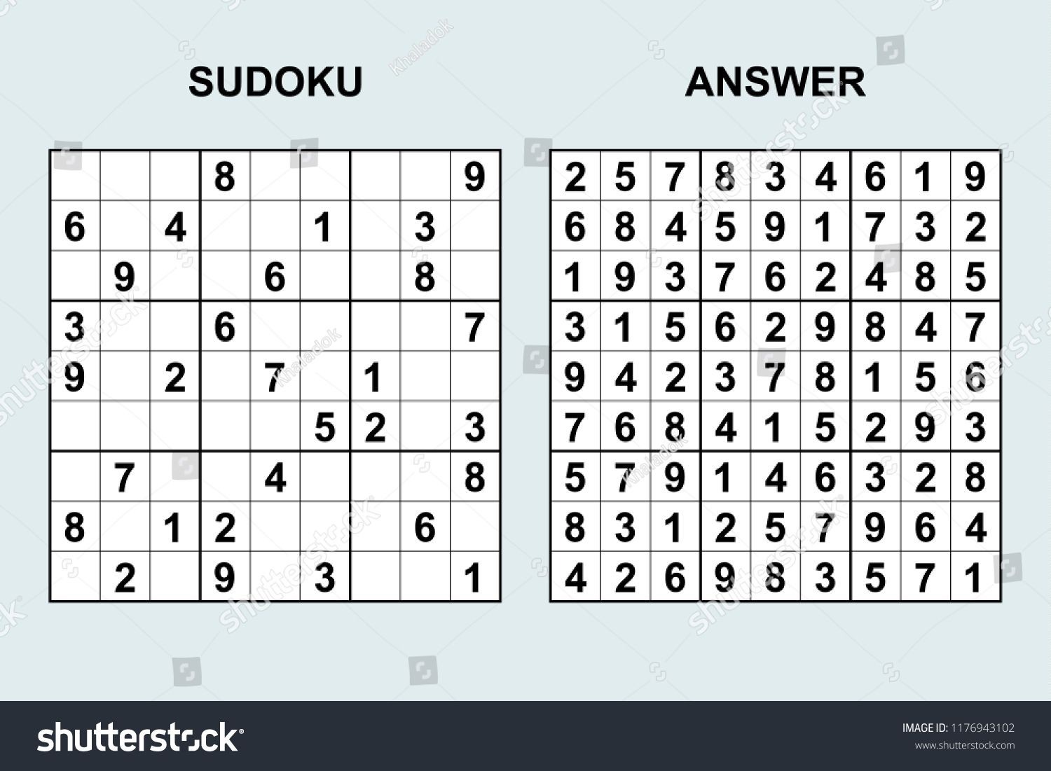 Vector Sudoku With Answer 171. Puzzle Game With Numbers