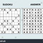 Vector Sudoku With Answer 172. Puzzle Game With Numbers